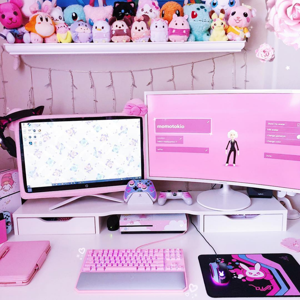 pink gaming pc pink gaming desk gaming room gamer bedroom ideas gaming chair gaming desk game room decor couples gaming setup